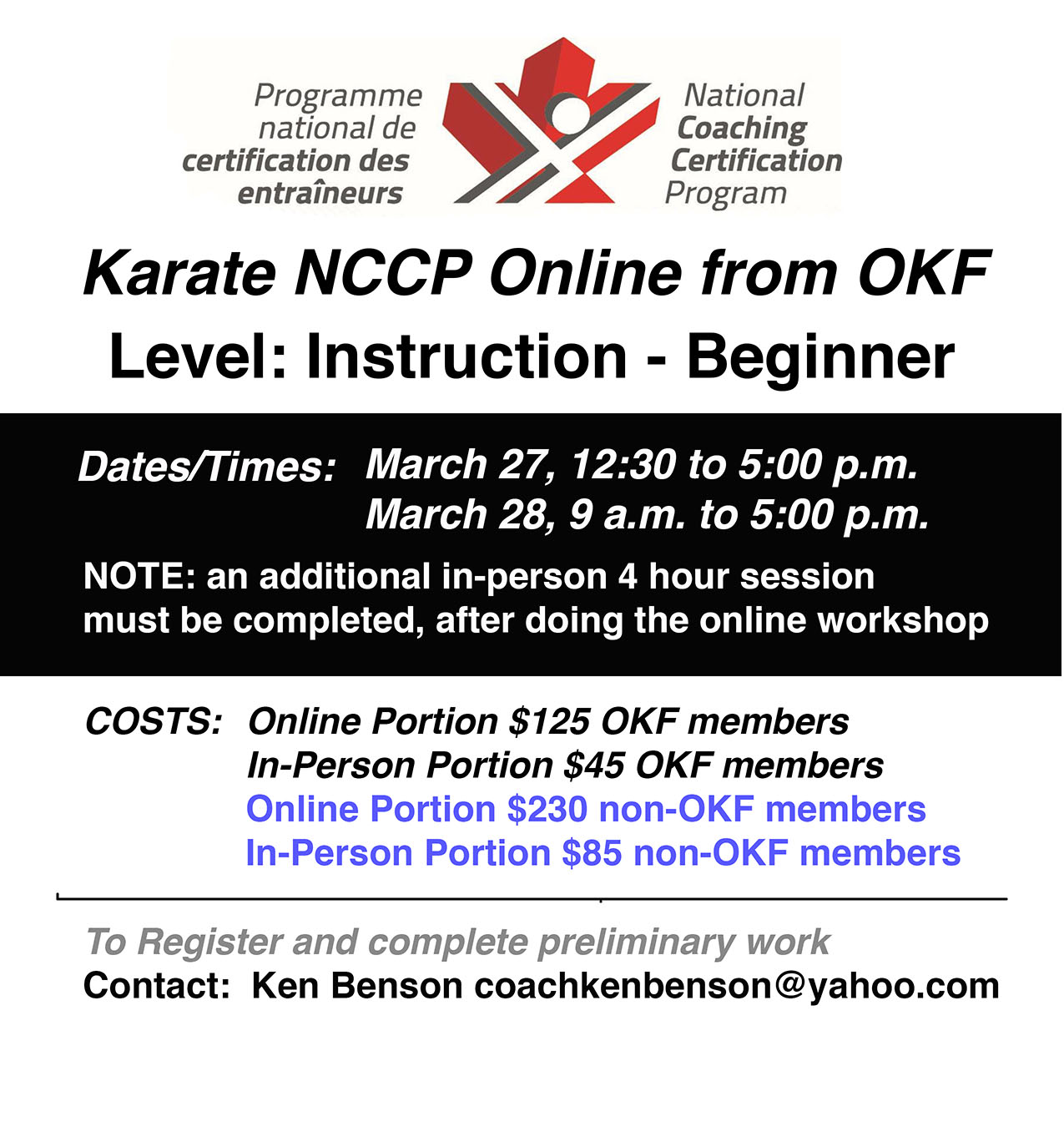 NCCP online course on March 27-28